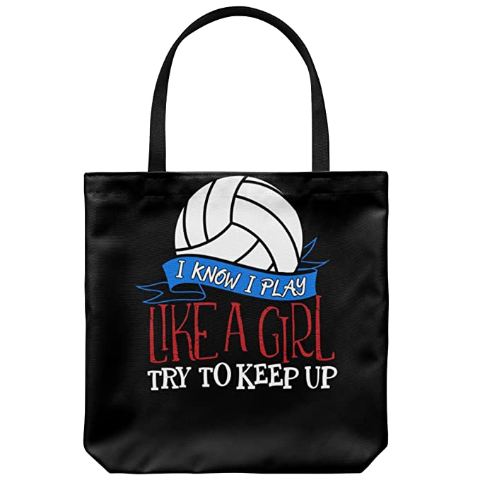 Amazon.com  Funny Volleyball Canvas Tote Bag - I Know I Play Like A Girl   Clothing 5be693bfa1ae6