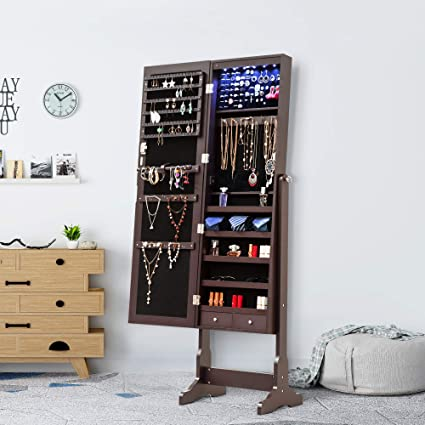 Homevibes Jewelry Cabinet Jewelry Armoire 6 LED Lights Mirrored Makeup  Lockable Free Standing Full Length Floor