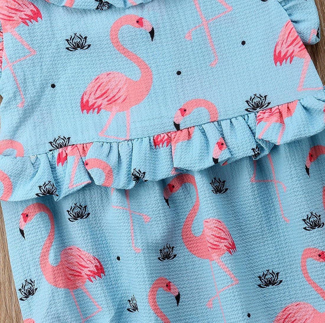 Imcute Newborn Baby Girls Flamingo Ruffle Romper Bodysuit Outfit