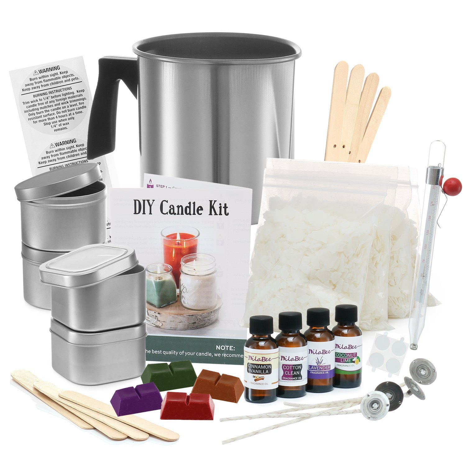 Complete DIY Candle Making Kit Supplies – Create Large Scented Soy Candles – Full Beginners Set Including 2 LB Wax, Rich Scents, Dyes, Wicks, Melting Pitcher, Tin Containers and More DilaBee 4336840781
