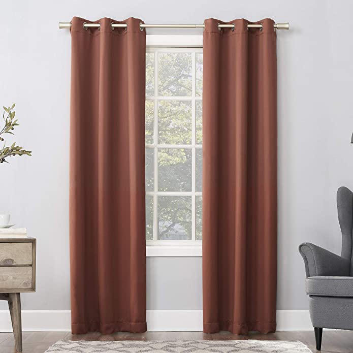 "95""x40"" Kenneth Energy Saving Blackout Grommet Top Curtain Panel Dark Orange - Sun Zero"