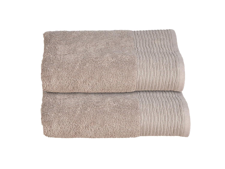 Allure Bath Fashions Luxury Supersoft Sparkle Border Cotton Bath Towels, Absorbent and Quick Dry Bath 2 Pack Towel Bale 130 x 70cm 500gsm Bathroom Towel - Bronze, Mocha (2x Bath Towels)