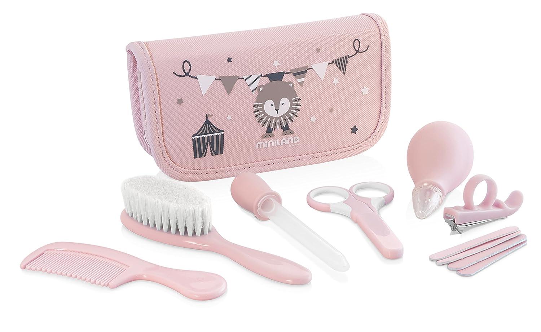 Miniland komplett Zuhause und unterwegs Baby Care Kit, Pink HESS 89125