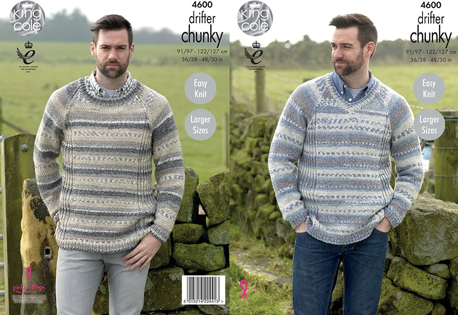 Easy Knit Ribbed Sweaters Mens Knitting Pattern King Cole Drifter Chunky 4600