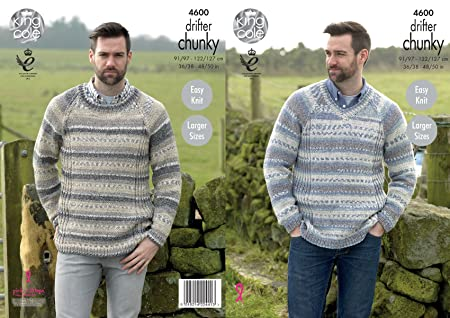 944dd105ecc1b King Cole Mens Chunky Knitting Pattern - Easy Knit Round or V Neck Sweater  with Ribbed