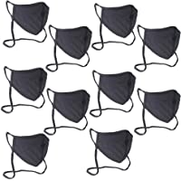 Buttonsmith Black Extra Large Adult Cotton Adjustable Face Mask with Filter Pocket - Pack of 10 - Adult XL - Two Layer…