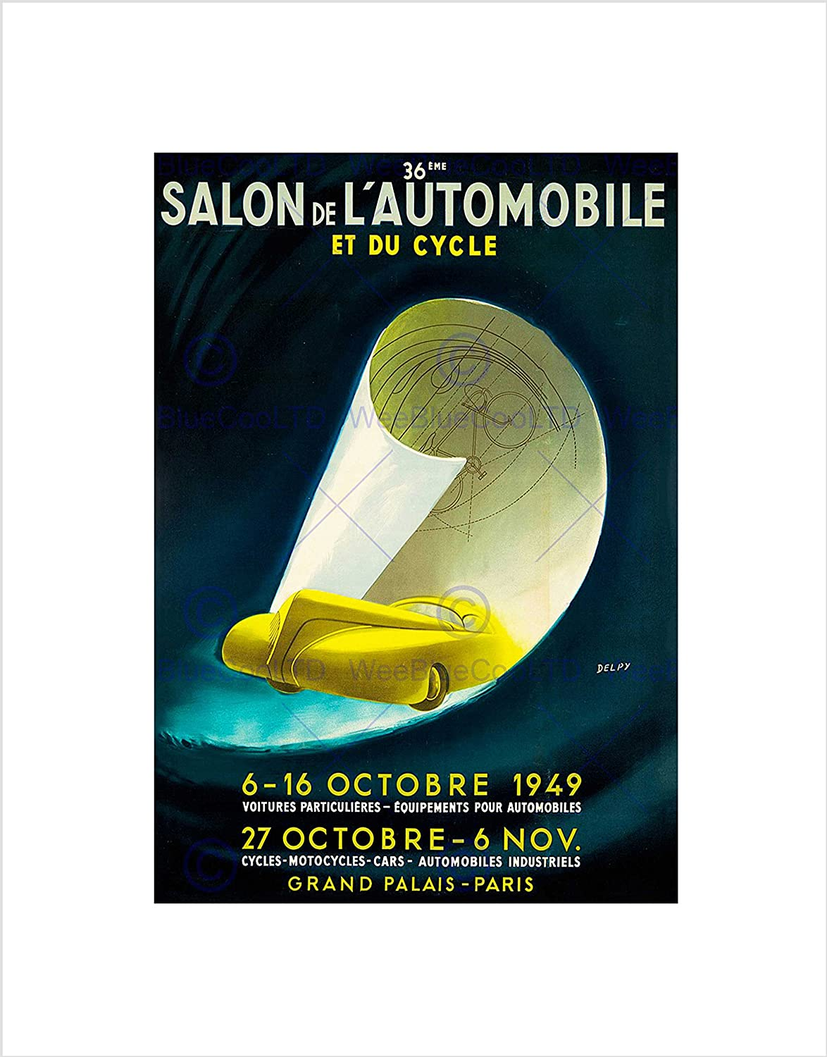 Amazon.com: AD Exhibition Motor Show Cycle CAR Automobile Paris Framed Art Print B12X6773: Posters & Prints
