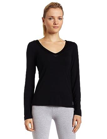 f083aec83089f Calvin Klein Womens Essentials With Satin Long Sleeve V-Neck Pajama Top,  Black,