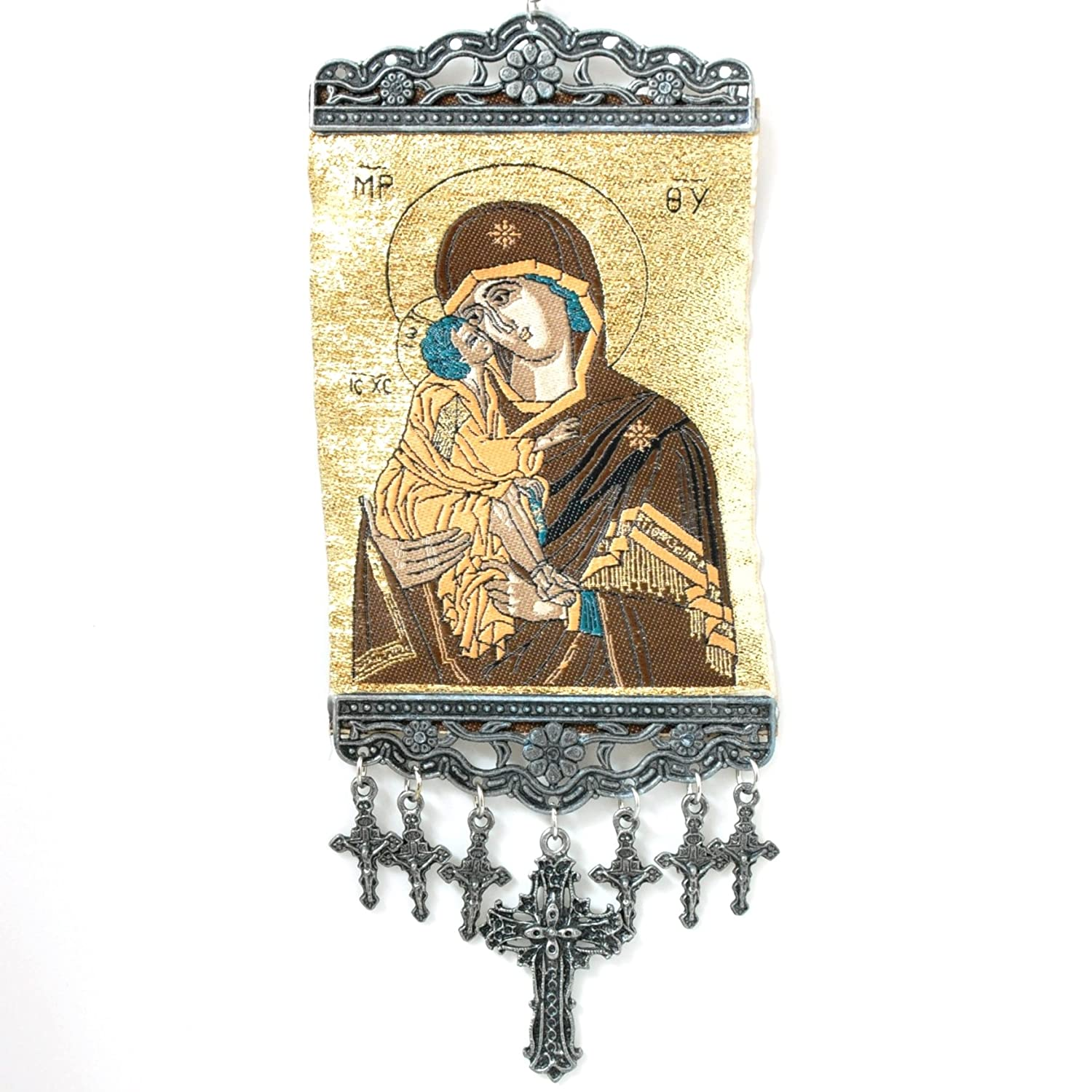 Madonna Mary Baby Jesus, Cross Wall Hanging Tapestry Banner N/A 9130