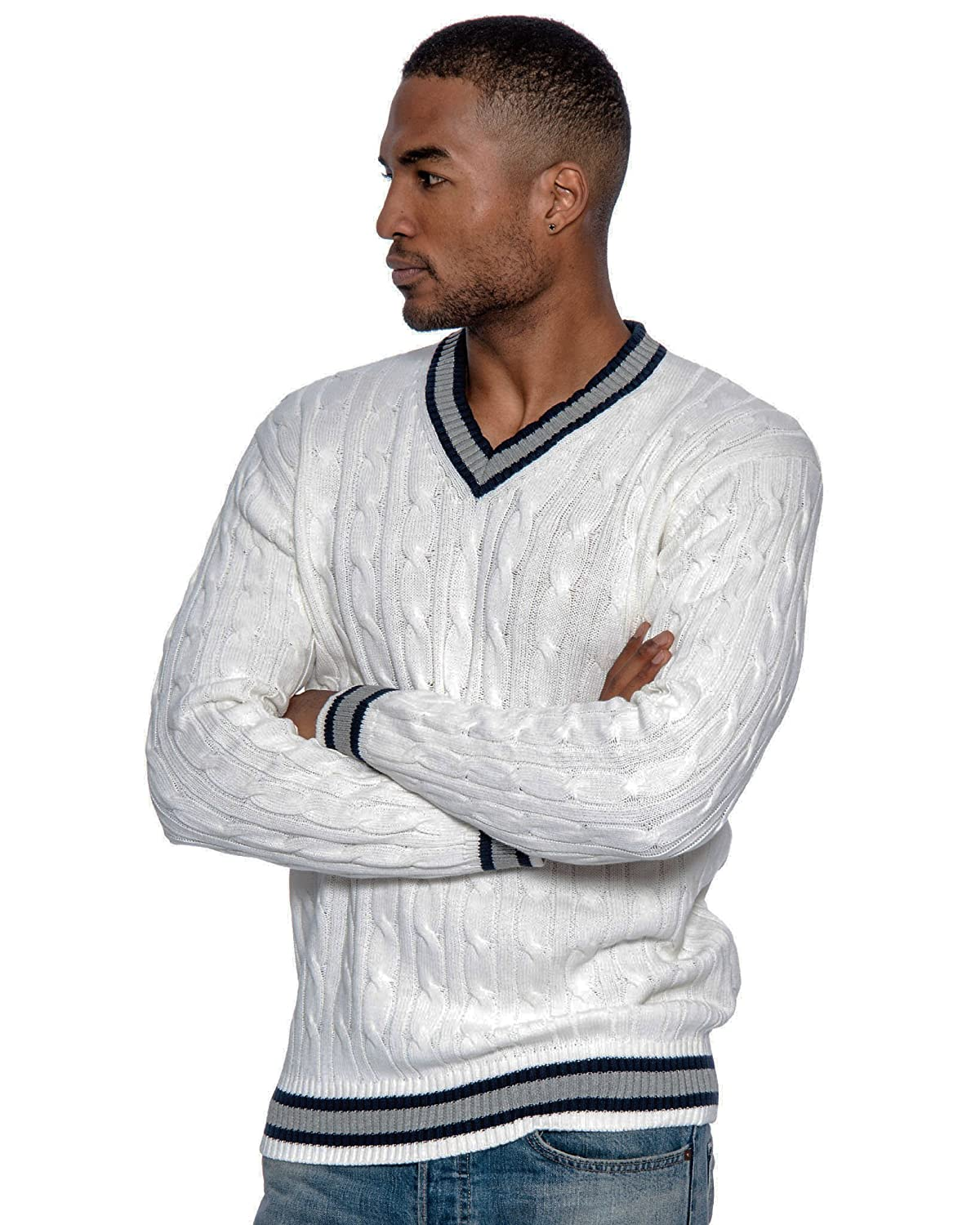 Men's Vintage Style Sweaters – 1920s to 1960s Fit Cable Knit V-Neck Sweater $29.99 AT vintagedancer.com