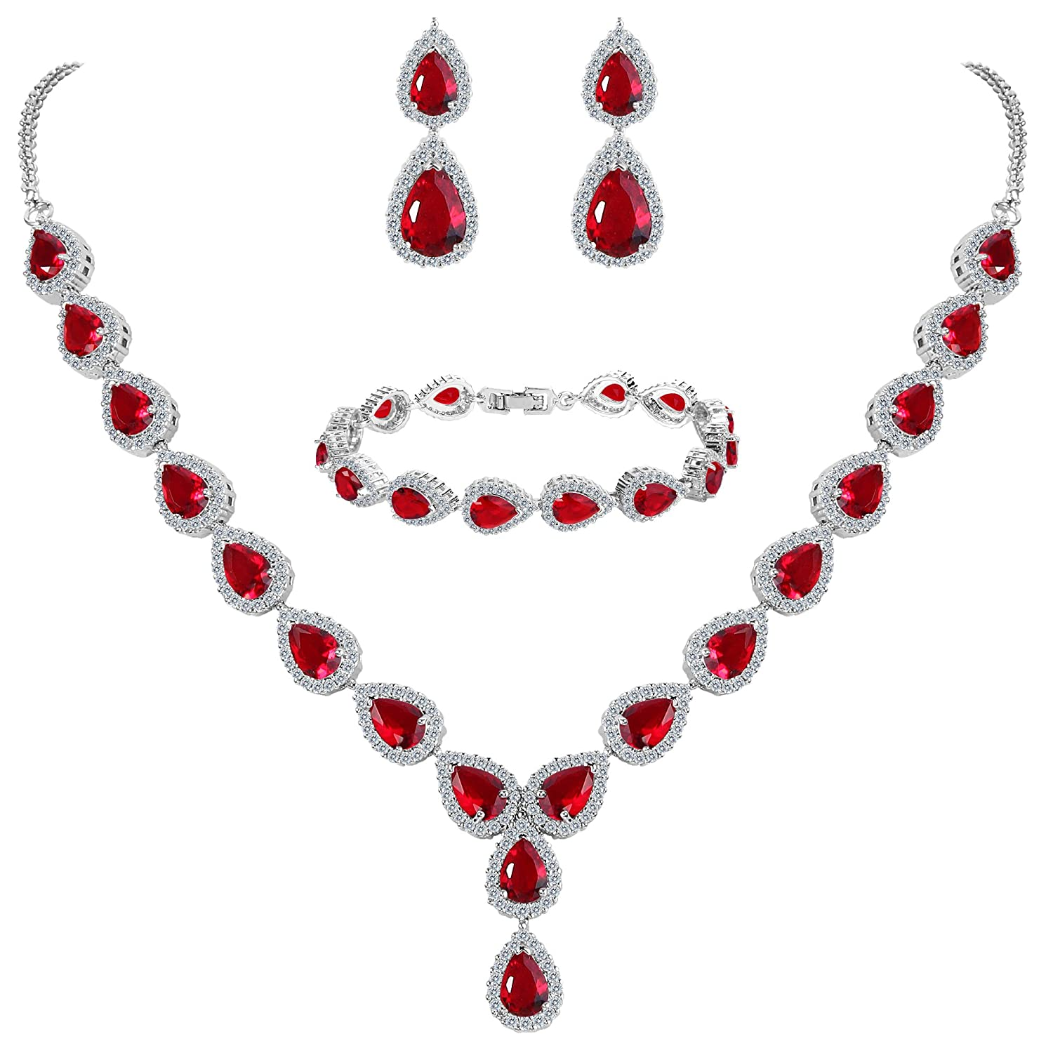 Ruby Red CZ Queen of Hearts Costume Jewelry Set - DeluxeAdultCostumes.com
