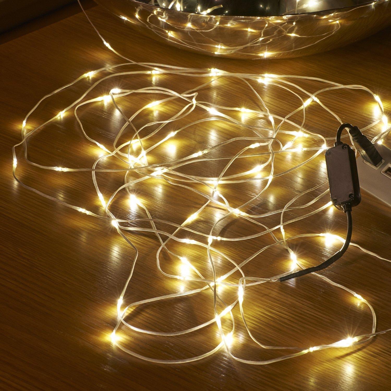 Auraglow 5m USB Unsichtbares Kabel Drinnen//Drau/ßen Wasserfest 50 Mikro LED Weihnachtsbeleuchtung Warmes Weis