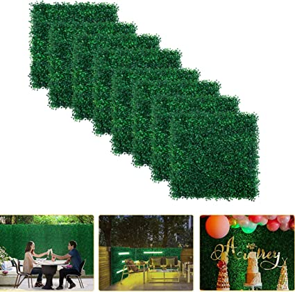 8pcs Boxwood Panels 20 X20 Artificial Faux Hedge Plant For 21 5 Sq Feet Per Boxwood Hedge Set Use For Uv Protection Indoor Outdoor Fence Privacy Screen Grass Wall Greenery