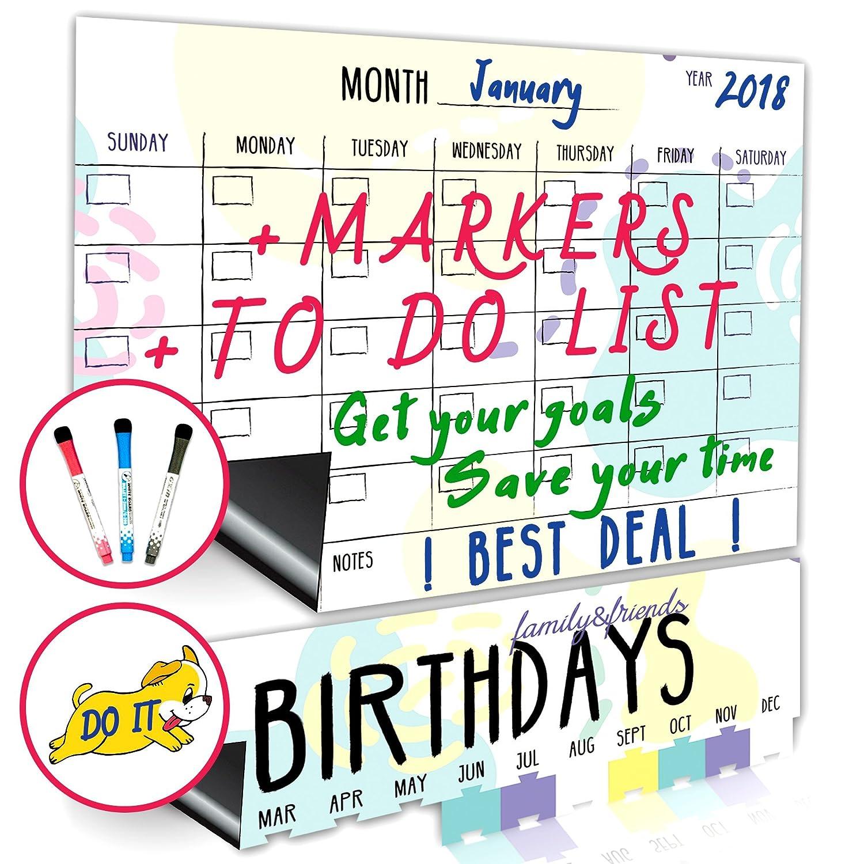 2018 Magnetic Dry Erase Refrigerator Calendar - Large Monthly Fridge Whiteboard Calendar 2018 - Birthday Calendar - Magnetic Notepad - GET YOUR GOALS with BEST Magnetic Fridge White Board Calendar Set