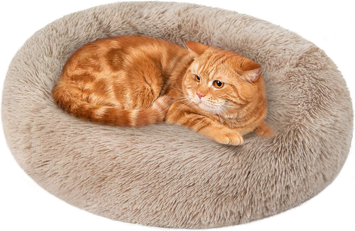 Love's cabin Cat Beds for Indoor Cats - Cat Bed with Machine Washable, Waterproof Bottom - Fluffy Dog and Cat Calming Cushion Bed for Joint-Relief and Sleep Improvement