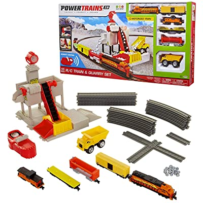 Power Trains R/C Train & Quarry Set, Motorized Electronic Train Set for Boys or Girls with 55 Pieces including Remote Control: Toys & Games