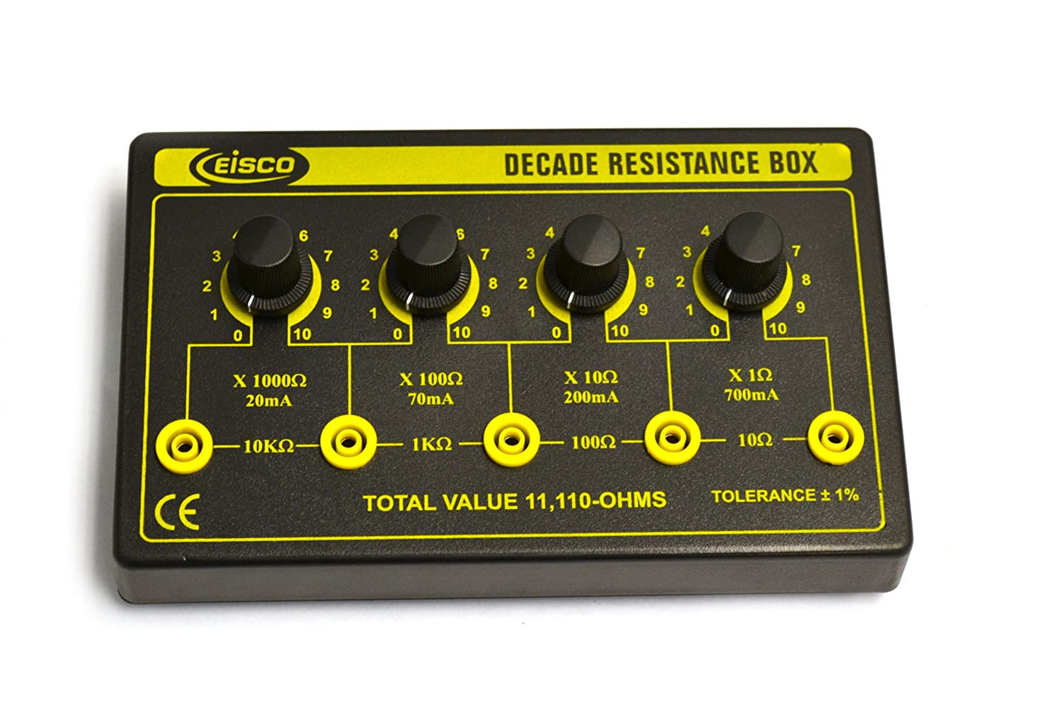 Eisco Labs 4 Decade Resistance Box 0.5555W Theoretical Max Variable from 0-11,110 Ohms 0.5W Resistors