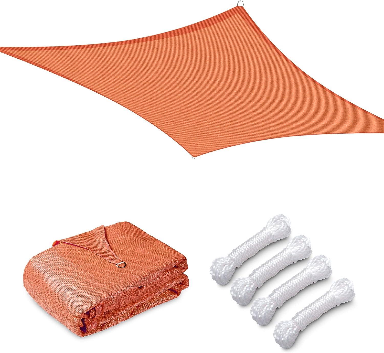 Yescom 10x8FT 97% UV Block Rectangle Sun Shade Sail Outdoor Patio Pool Garden Yard Lawn Carport Cover Net Awning Canopy Bright Orange