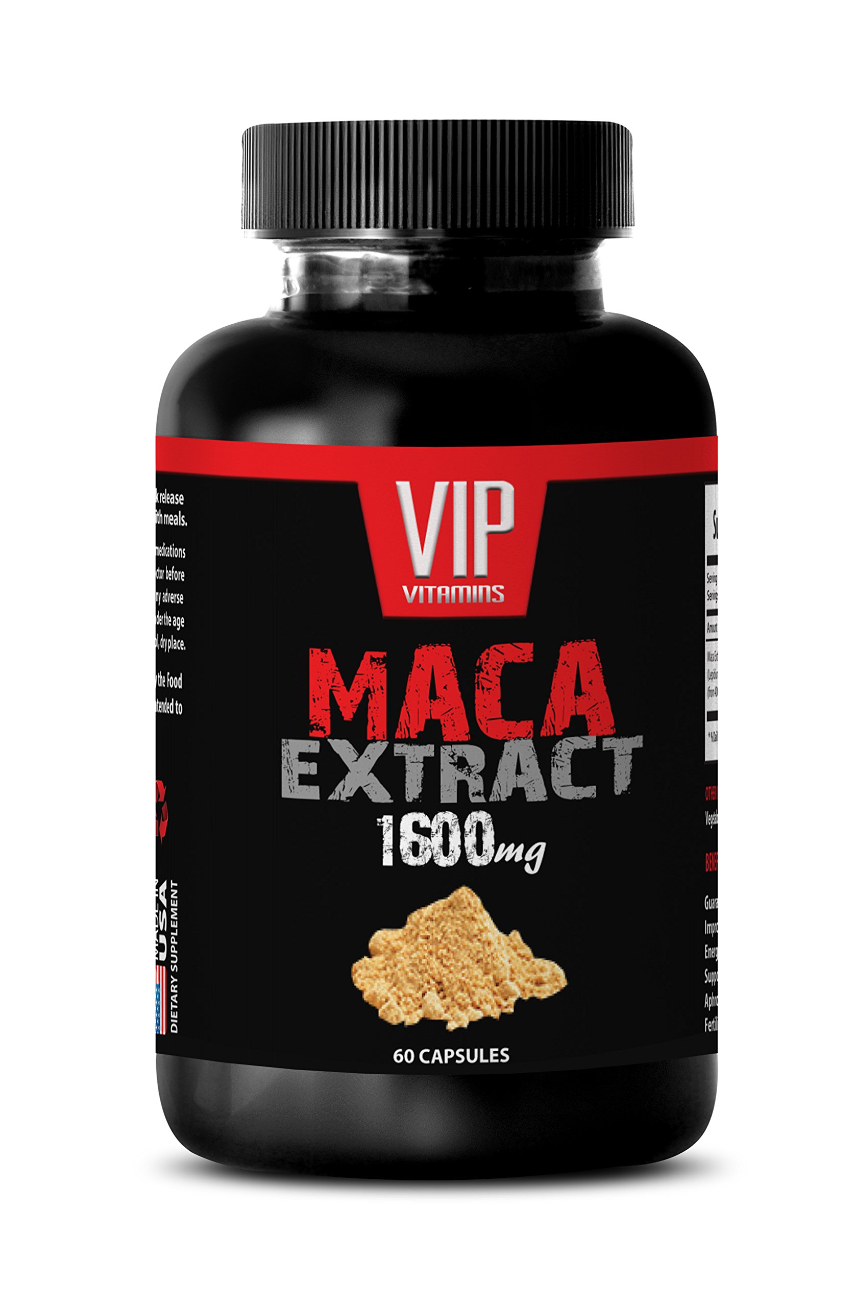 Maca Powder - Maca 1600mg 4: 1 Extract - Increases Fertility (1 Bottle 60 Capsules)