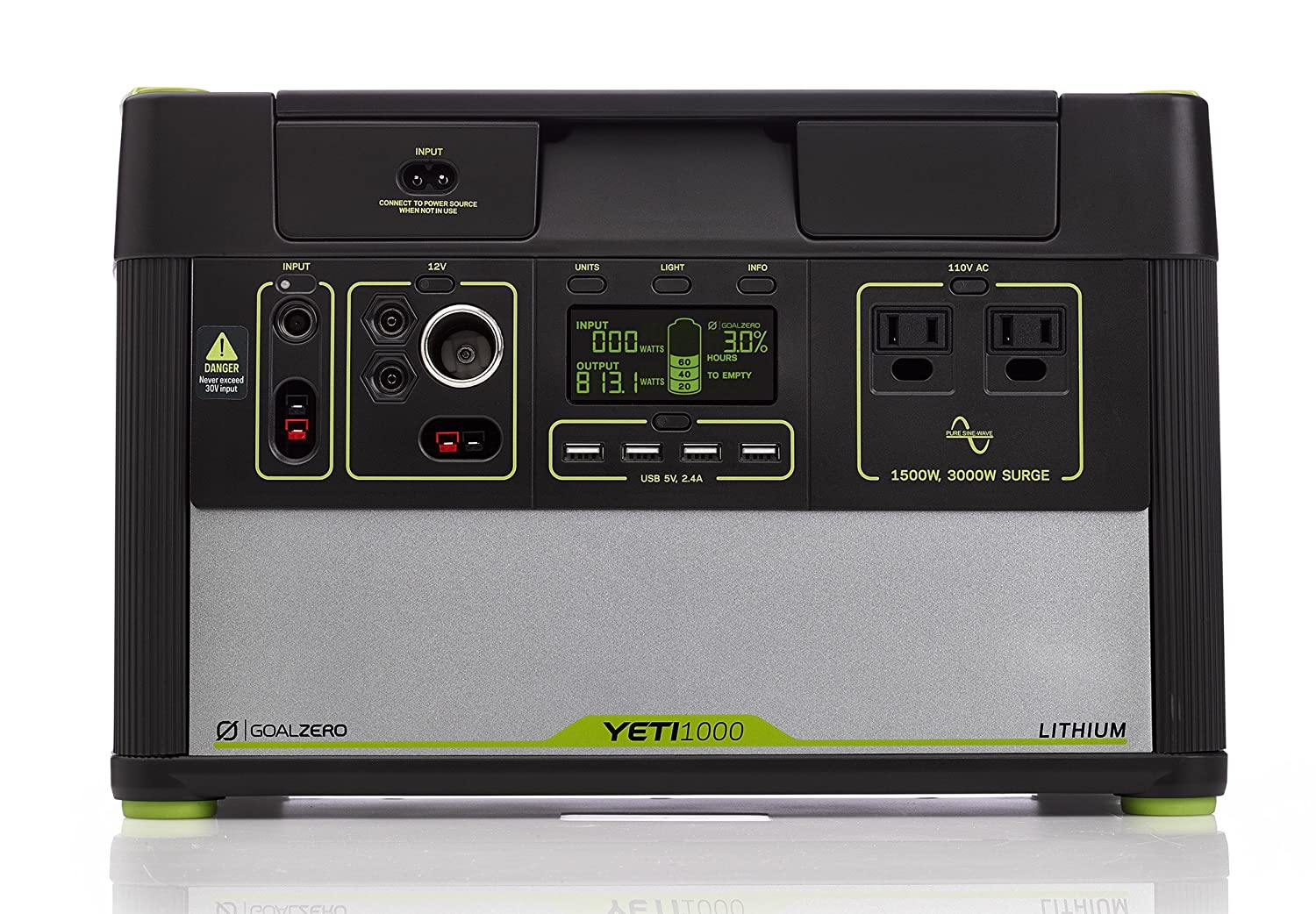 Goal Zero Yeti 1000 Lithium Portable Power Station, 1045Wh Silent Gas Free Generator Alternative with 1500W 3000W Surge Inverter, 12V and USB Outputs