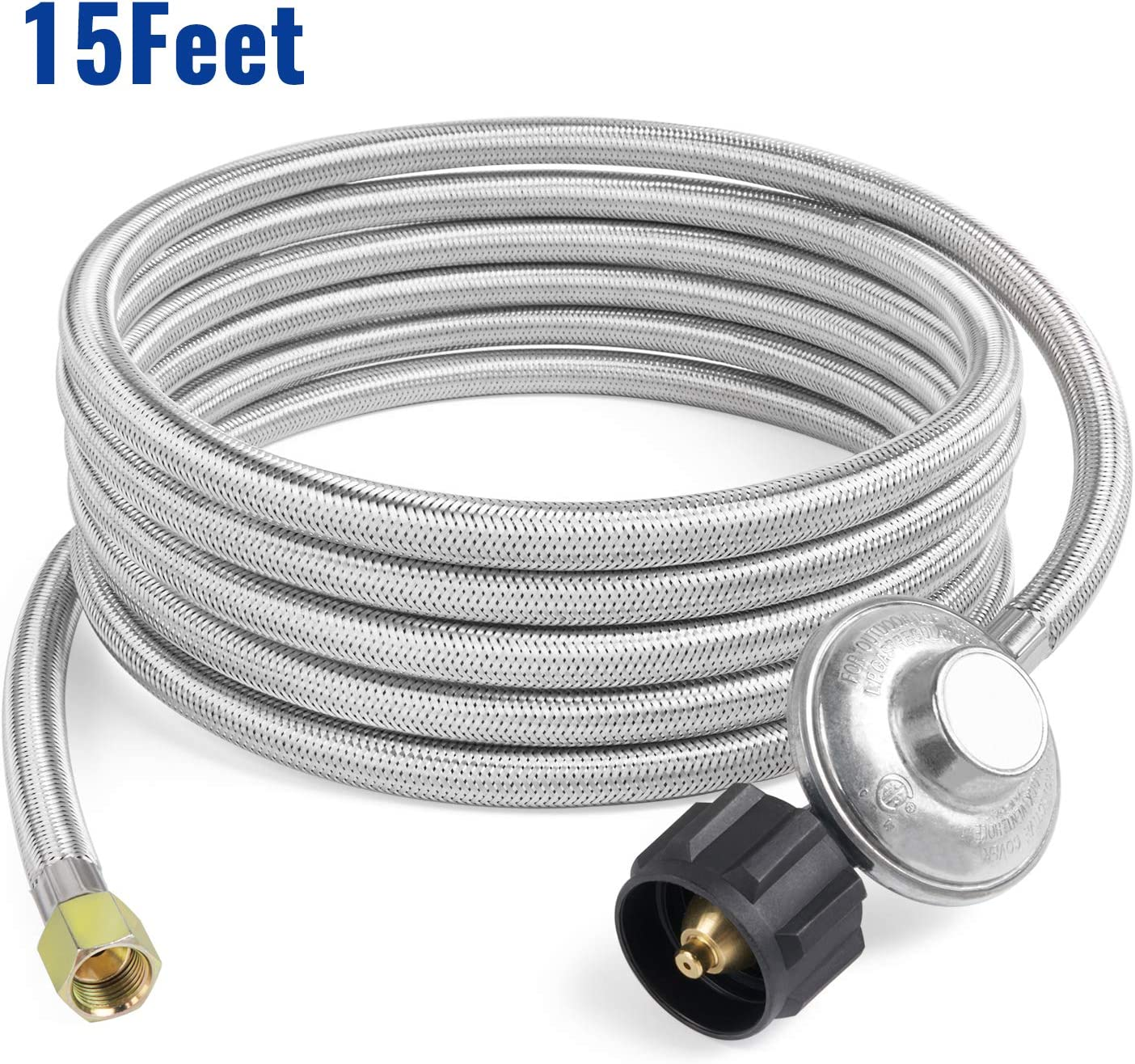 GASPRO 15ft Stainless Braided Propane Regulator with Hose, Low Pressure LP Hose and Regulator for Propane Fire Pit, Heater, Gas Grill,CSA