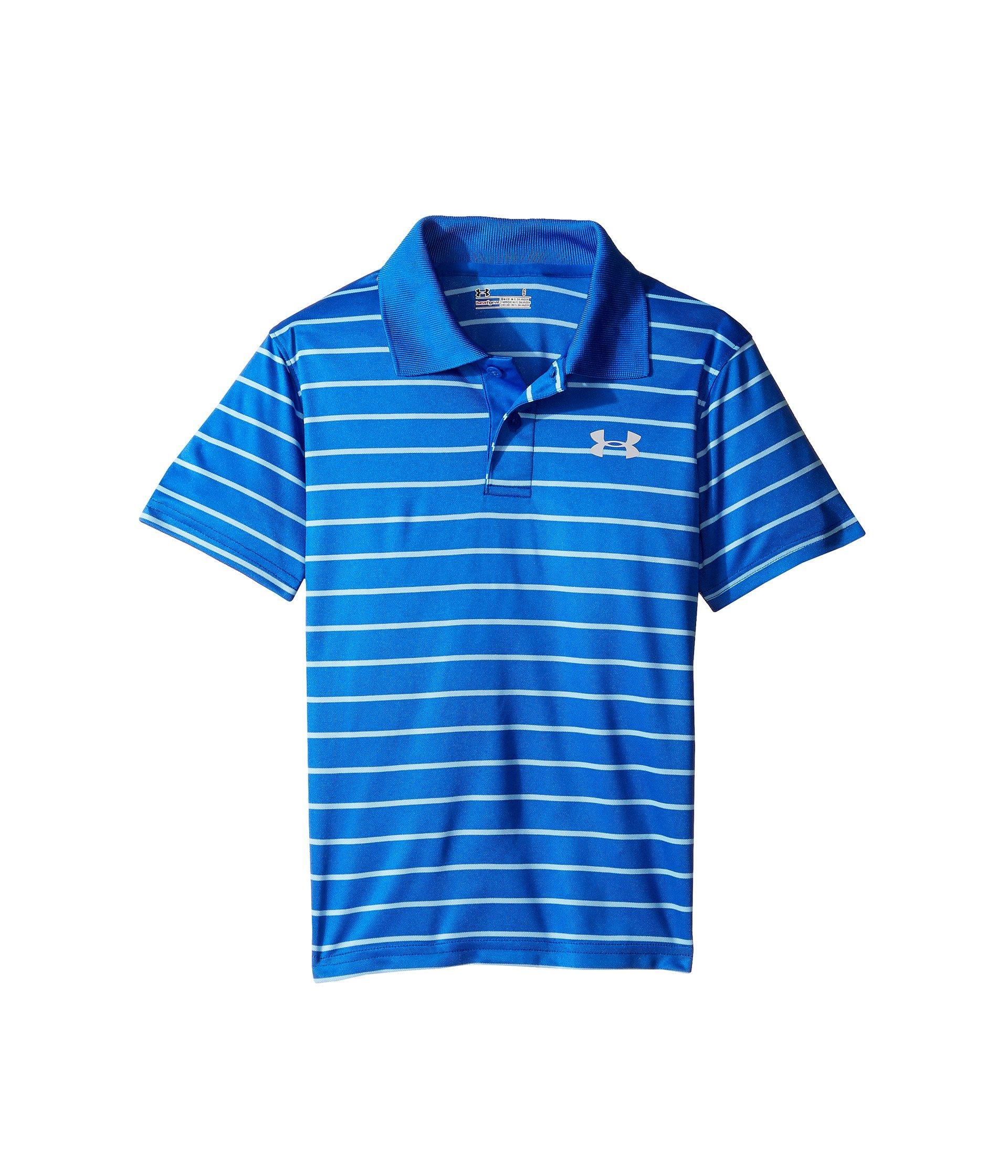 Under Armour Little Boys' Ua Logo Short Sleeve Polo, Ultra Blue Stripe, 6