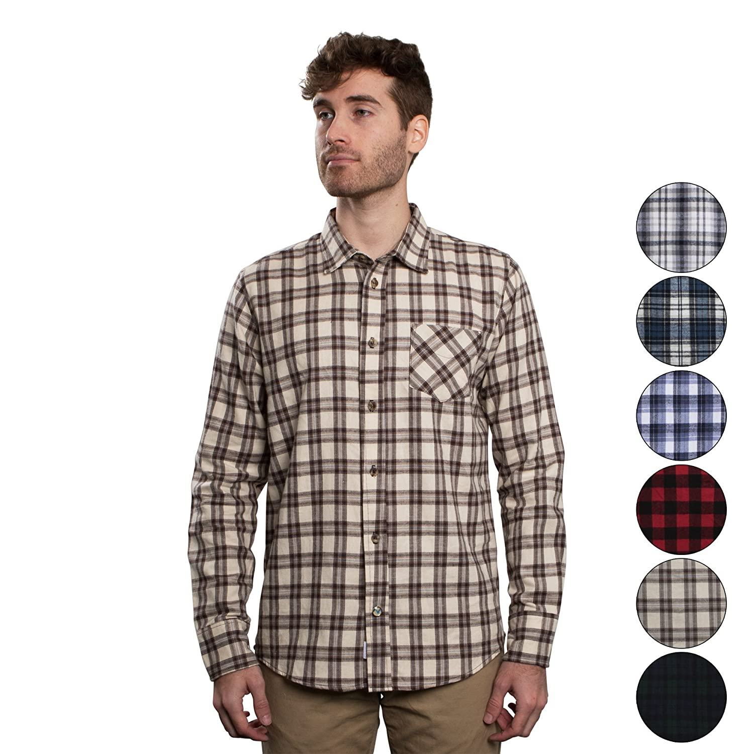 Mens Untucked Plaid Flannel Shirt Slim Fit Long Sleeve Made In