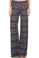 Vialumi Women's Juniors Relaxed Aztec Print Wide Leg Pants Blue Multi