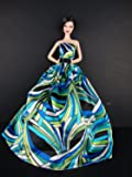 Qiyun A Blue and Green Pucci Inspired Ball Gown Made to Fit the Barbie Doll