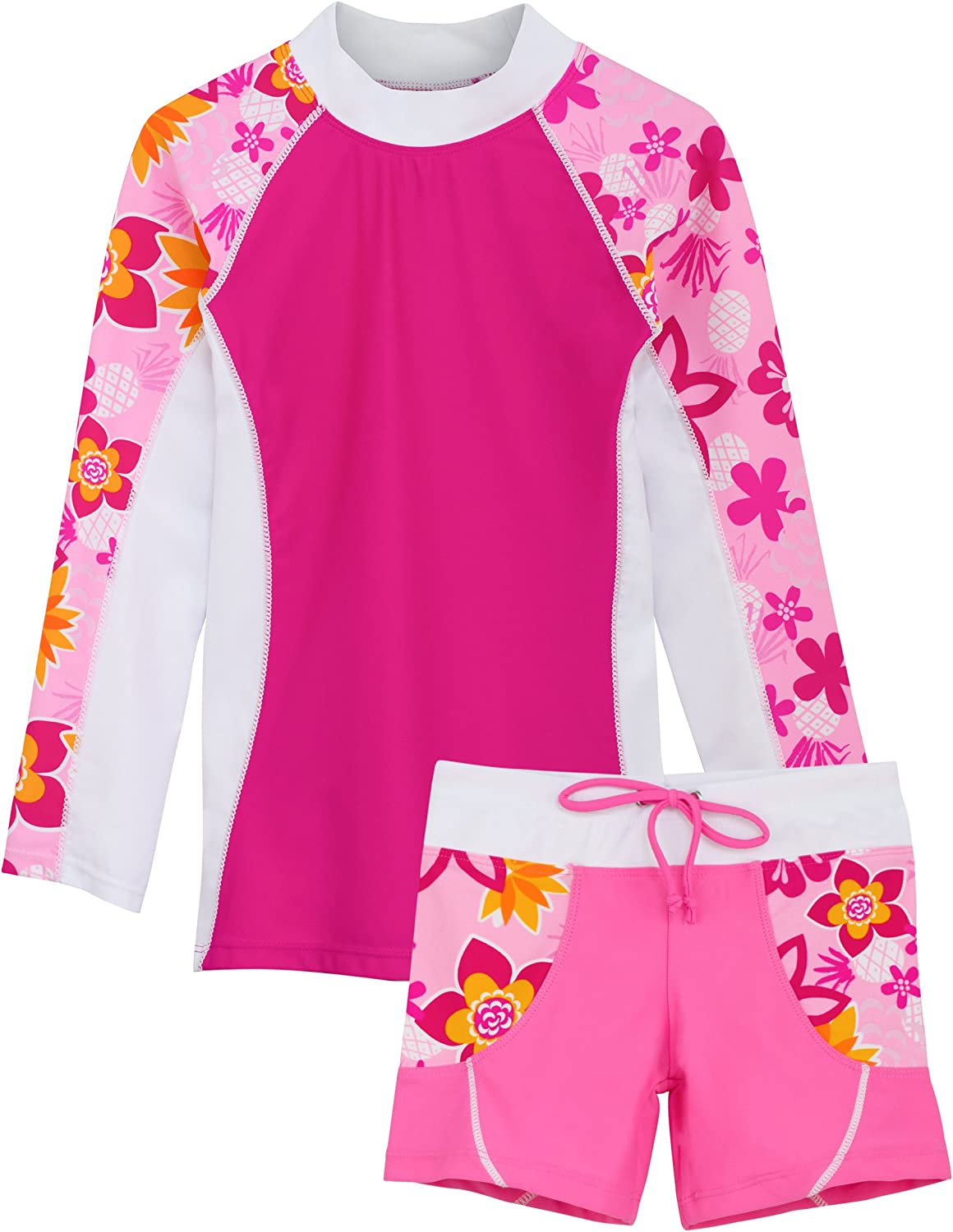 Tuga Girls Two-Piece Long Sleeve Swimsuit Set 2-14 Years UPF 50 Sun Protection