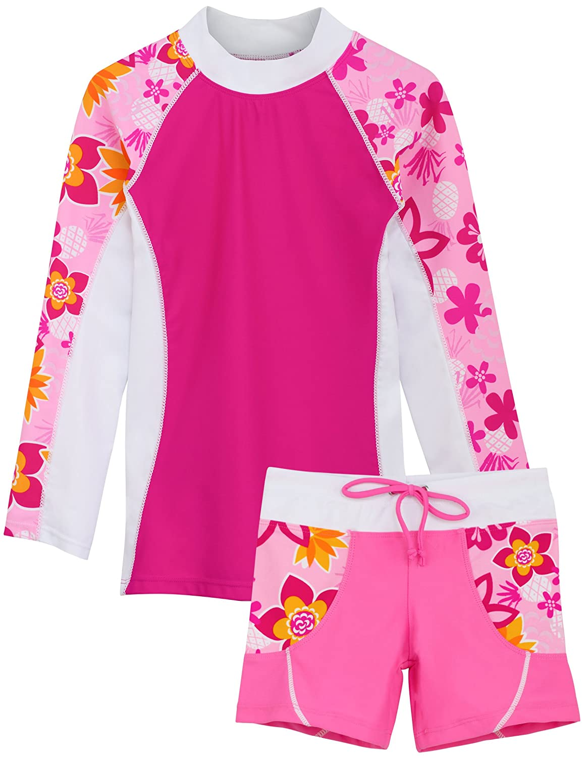 Tuga Girls Two-Piece Long Sleeve Swimsuit Set 2-14 Years, UPF 50+ Sun Protection