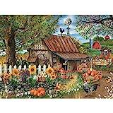 Bits and Pieces - 500 Piece Jigsaw Puzzle for Adults - Bountiful Meadows Farm - 500 pc Sunflowers, Pumpkins, Farm Scene Jigsaw by Artist Thomas Wood