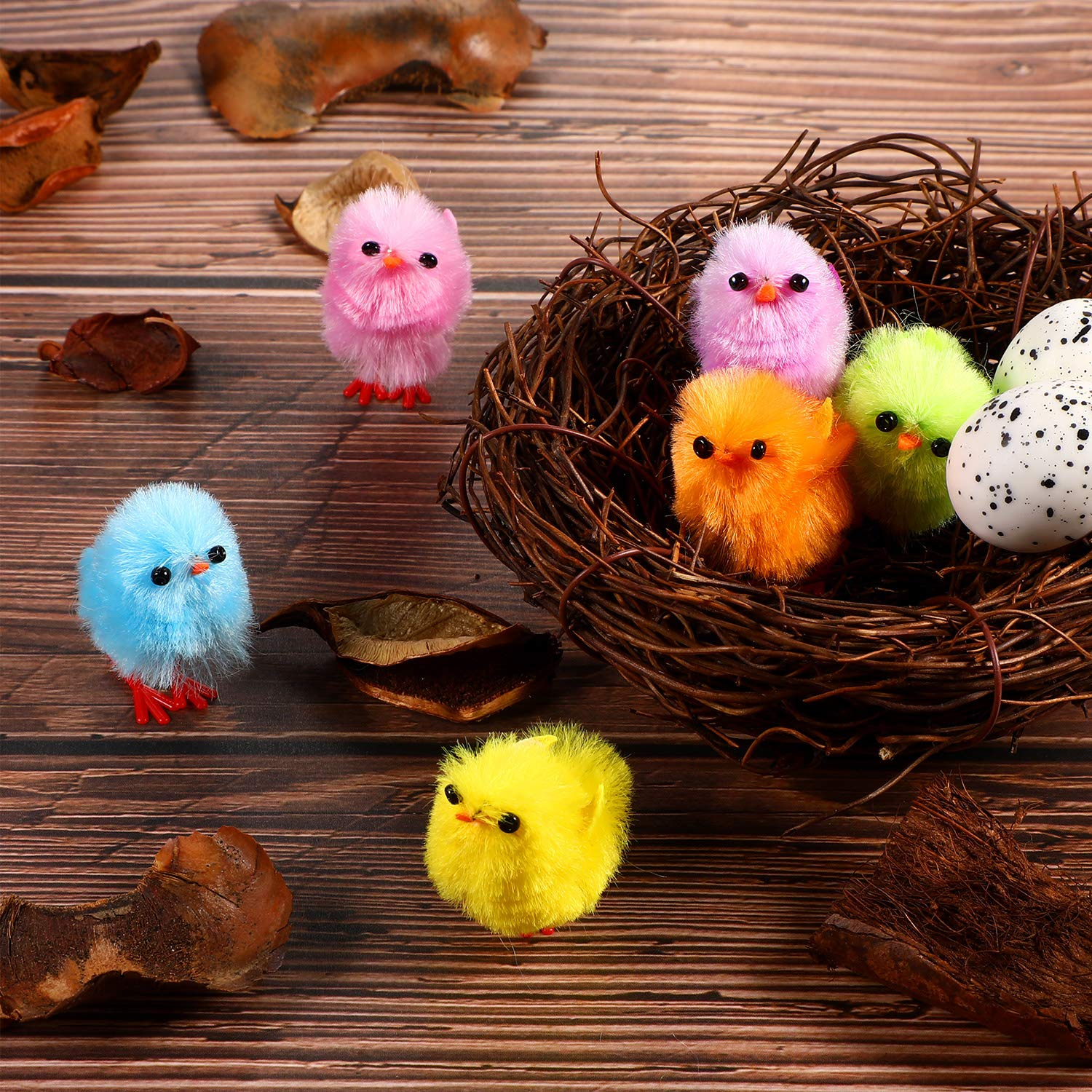 60 Pieces Easter Mini Chicks Multi-colored Artificial Fluffy Chicken Easter Chick for Easter Party Favors Baskets Decor 1.2 inch