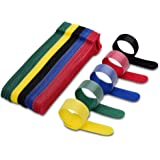 VCZHS 50 PCS Reusable Fastening Cable Ties, Microfiber Cloth 6-Inch Hook and Loop Cord Ties for Tablet Laptop PC TV Home…