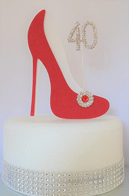 Awesome 40Th Birthday Cake Decoration Shoe With Diamante Number Non Funny Birthday Cards Online Alyptdamsfinfo