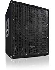 """auna Sub 15A - Active PA Subwoofer , 600 Watts Output Power , 15"""" (38 cm) , 8 Ohms , Bi-amping Technology , Echo Effect , MDF Housing with Carpet Cover , Built-in Tripod Flange Connection , Black"""