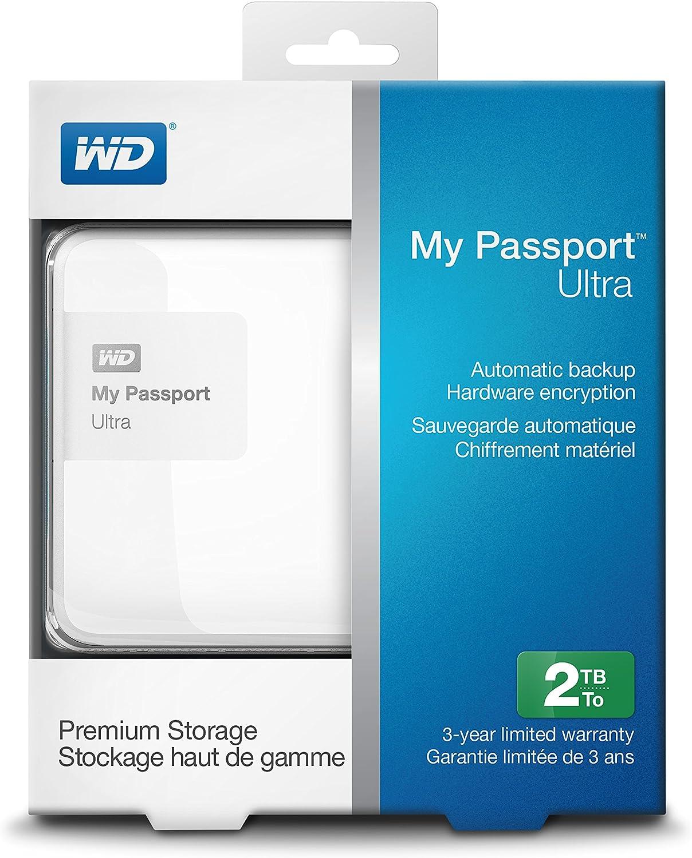 WD My Passport Ultra WDBBKD0020BWT-NESN - Disco Duro Externo portátil (2 TB, USB 3.0), Blanco: Amazon.es: Informática