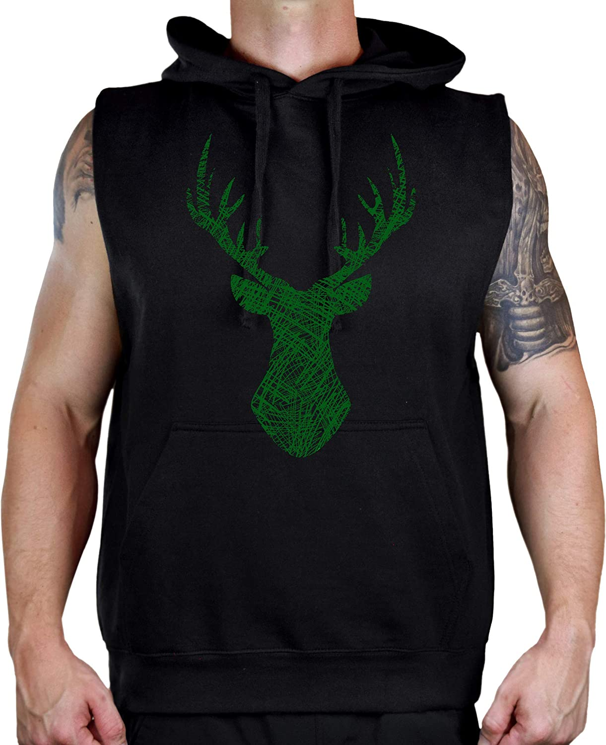 Mens Sketch Deer Head Black Sleeveless Vest Hoodie