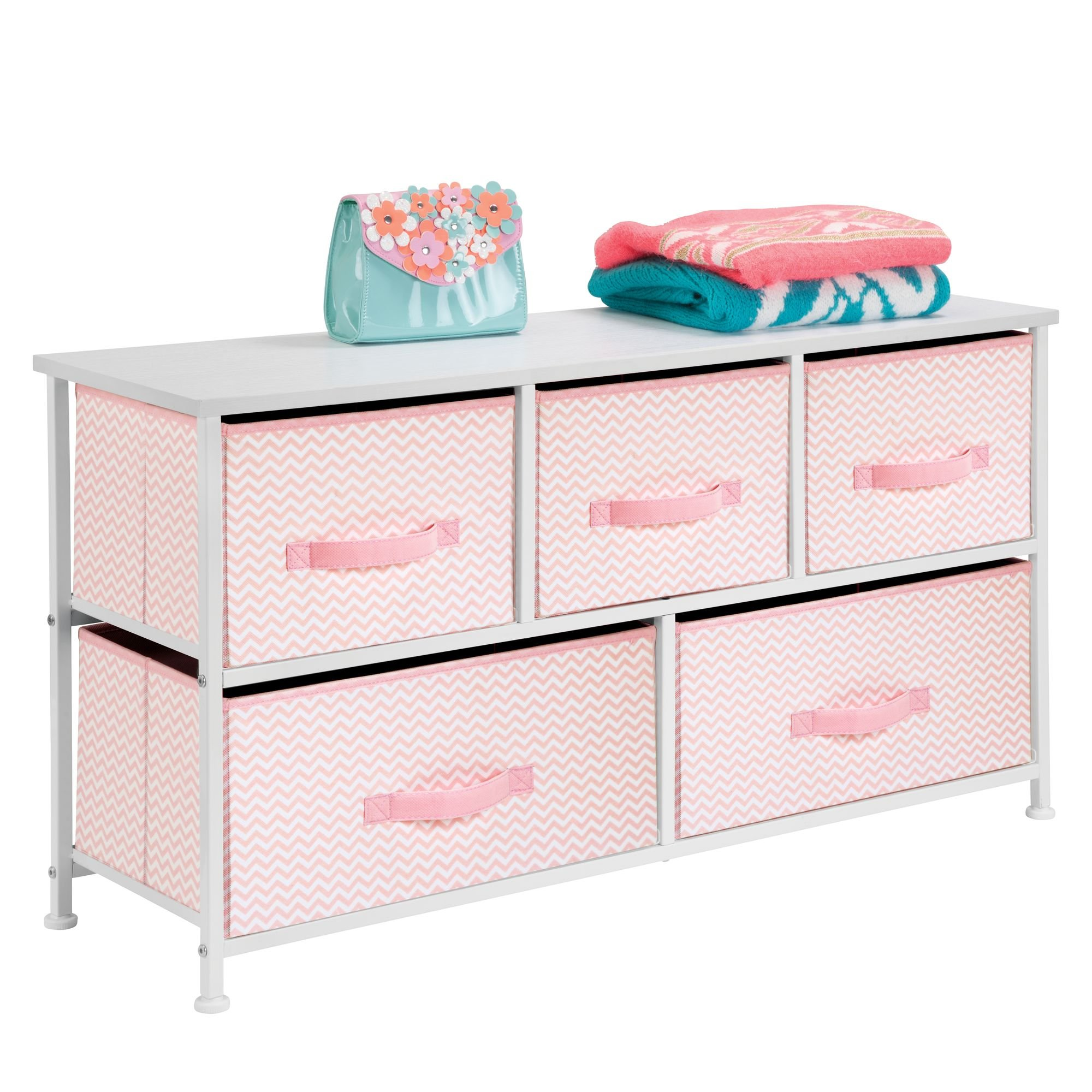 mDesign Extra Wide Dresser Storage Tower - Sturdy Steel Frame, Wood Top, Easy Pull Fabric Bins - Organizer Unit for Bedroom, Hallway, Entryway, Closets - Chevron Print - 5 Drawers, Pink/White