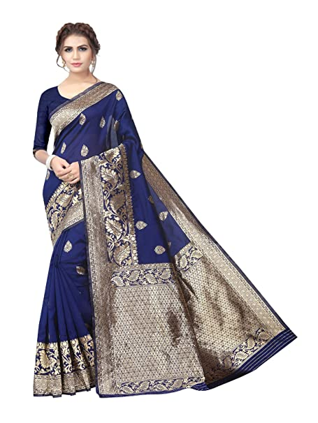 66fae974c1998 Image Unavailable. Image not available for. Colour  Kanchnar Women s Navy  Blue Poly Silk Jacquard Saree