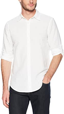 Perry Ellis Men's Rolled-Sleeve Solid Linen Cotton Button-up Slim Fit Shirt