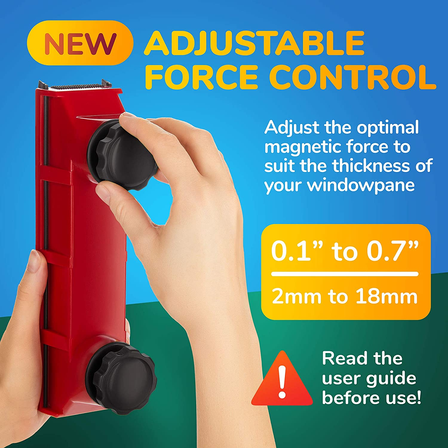 Tyroler Bright Tools Magnetic Window Cleaner Single or Double Glazed Window 0.08-0.7 Indoor and Outdoor Glass Pane Cleaning Adjustable Magnet Force The Glider D-2 AFC