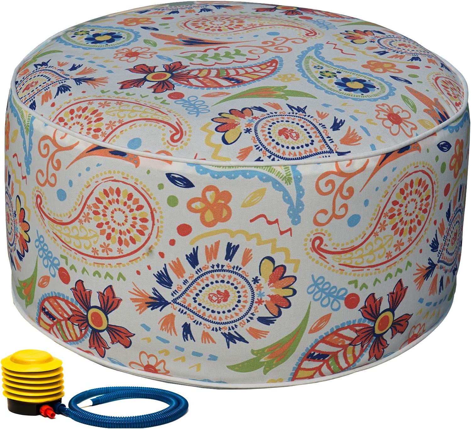 Kozyard Inflatable Stool Ottoman Used for Indoor or Outdoor, Kids or Adults, Camping or Home (Abstract Warm)