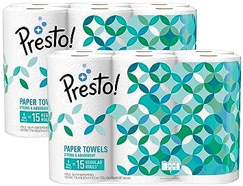 ed1a31a4bb689 Amazon Brand - Presto! Flex-a-Size Paper Towels, Huge Roll, 12 Count = 30  Regular Rolls