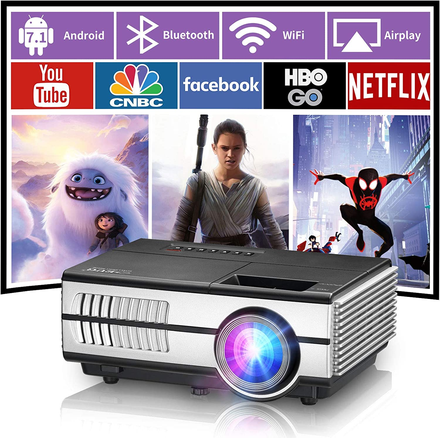 Portable Projector Android Wireless Wifi Bluetooth Hdmi Projector Support Airplay 4D Keystone Zoom Usb for iOS Smart Phone Tv Laptop Pc Ac Vga Ps4