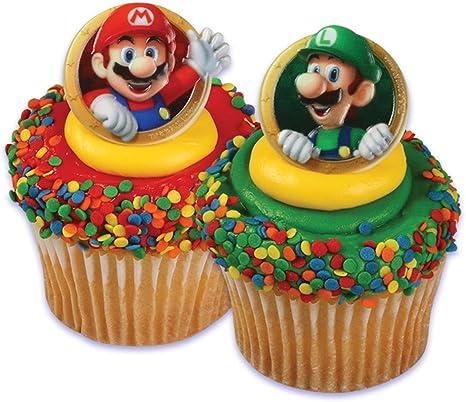 Amazon.com: Super Mario Bros Luigi 24 Cupcake Rings Bag ...