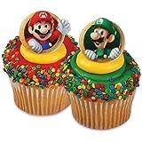 Super Mario Bros Luigi 24 Cupcake Rings Bag Fillers Birthday Party Favors Prizes