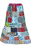 Mogul Interior Womens Multi-colour patchwork maxi-skirt with elastic waistband