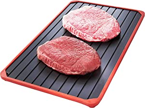 Defrosting Tray For Frozen Foods - Defrost Meat Thaw Metal Plate With Silicone Borders - Rapid Defroster Eco Friendly Rapid Meat Thawing Tray