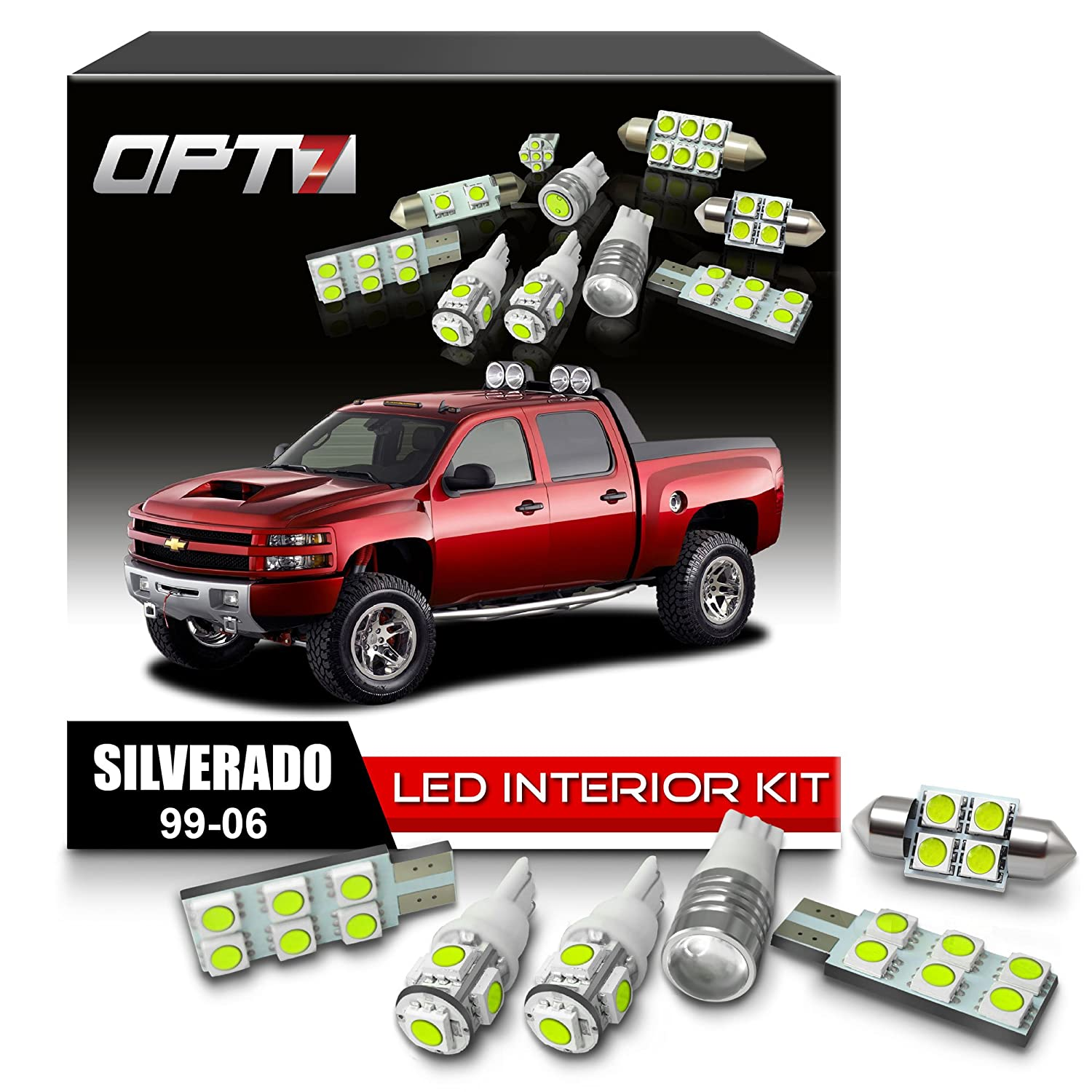 Amazon.com: OPT7 18pc Interior LED Replacement Light Bulbs Package set kit  for 99-06 Chevy Silverado | 6000K White | Dome Map Courtesy License Plate  and ...
